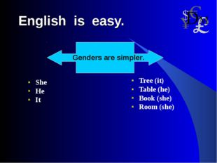 English is easy. She He It Tree (it) Table (he) Book (she) Room (she)