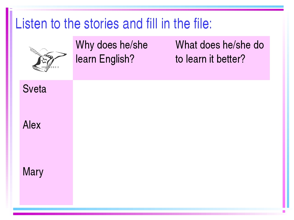 Listen to the stories and fill in the file: 	Why does he/she learn English?	W...