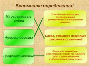 Вспомните определения! Многозначные слова Фразеологизмы Профессионализмы Слов