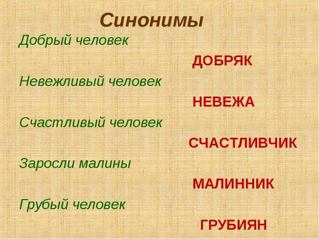 Синонимы Добрый человек ДОБРЯК Невежливый человек НЕВЕЖА Счастливый человек С...