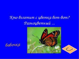 Кто взлетит с цветка вот-вот? Разноцветный ... бабочка