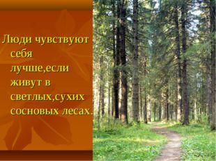 Люди чувствуют себя лучше,если живут в светлых,сухих сосновых лесах.