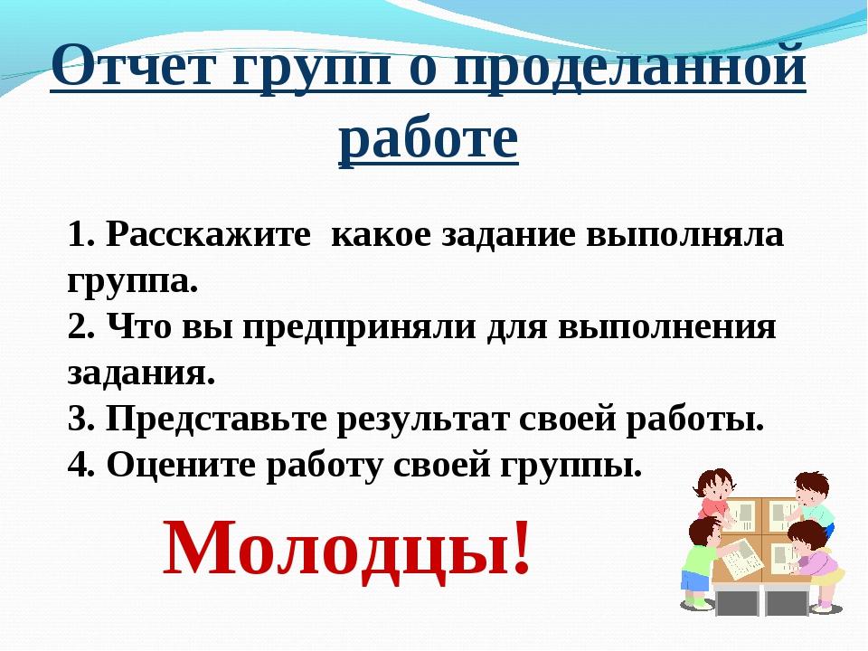 Отчет групп о проделанной работе Молодцы! 1. Расскажите какое задание выполня...