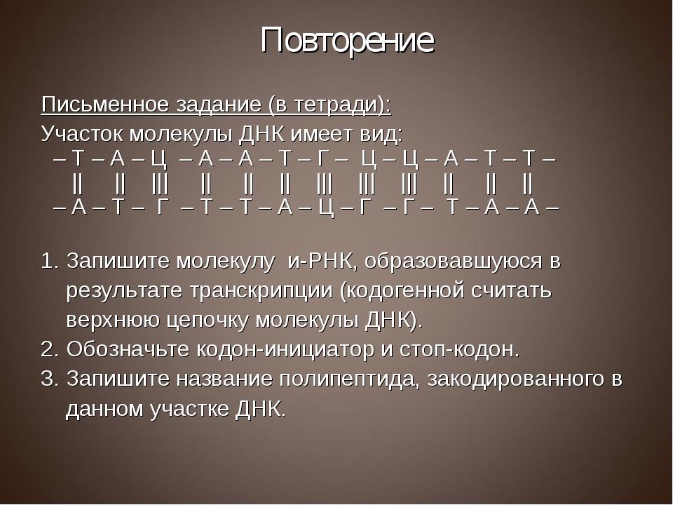 Повторение Письменное задание (в тетради): Участок молекулы ДНК имеет вид: –...