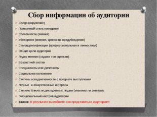 Сбор информации об аудитории Среда (окружение) Привычный стиль поведения Спос