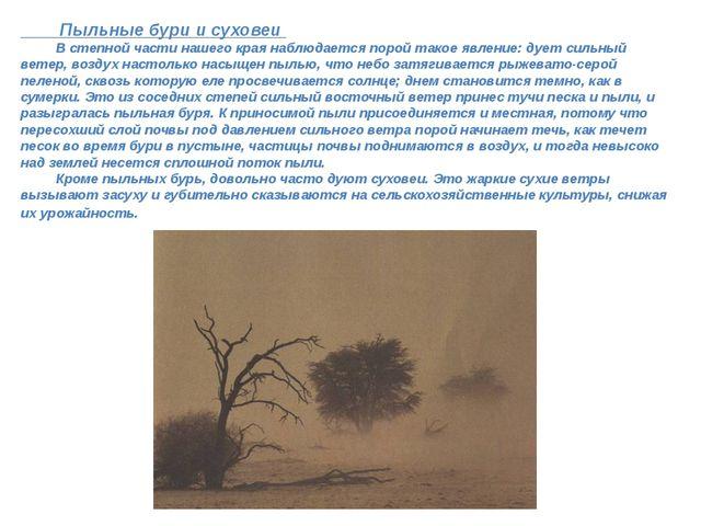 Пыльные бури и суховеи В степной части нашего края наблюдается порой такое...