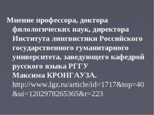 Мнение профессора, доктора филологических наук, директора Института лингвисти