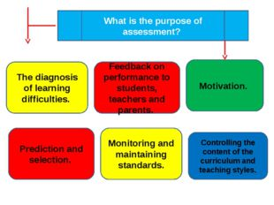 What is the purpose of assessment? The diagnosis of learning difficulties. Fe
