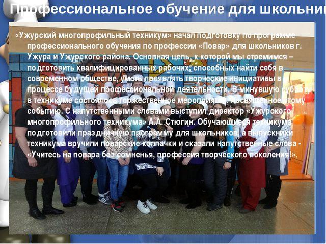 Профессиональное обучение для школьников «Ужурский многопрофильный техникум»...