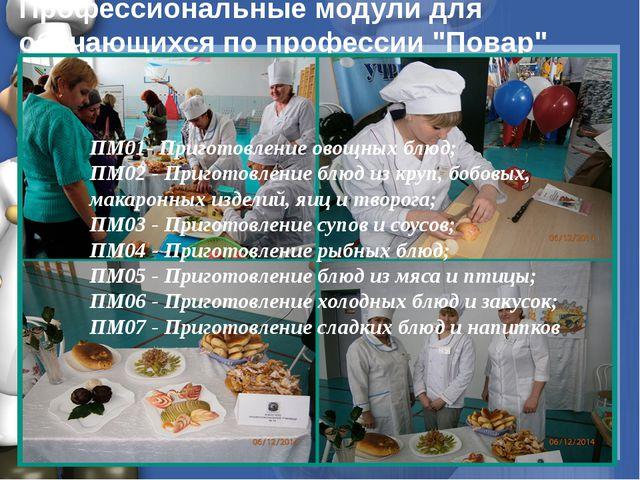 """Профессиональные модули для обучающихся по профессии """"Повар"""" ПМ01- Приготов..."""