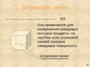 Штриховая линия Она применяется для изображения невидимых контуров предмета.