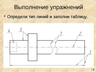 Определи тип линий и заполни таблицу. Выполнение упражнений