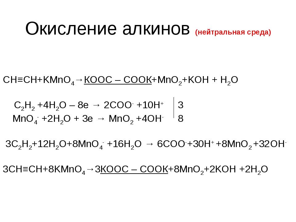 Окисление алкинов (нейтральная среда) CН≡CH+KMnO4→КООС – СООК+MnO2+KOH + H2O...