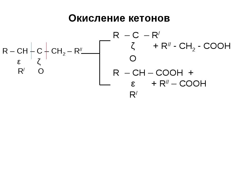 R – CH – C – CH2 – R// ǀ ǁ R/ O Окисление кетонов R – C – R/ ǁ + R// - CH2 -...