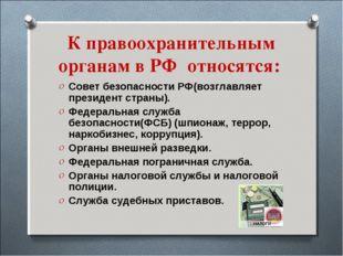 К правоохранительным органам в РФ относятся: Совет безопасности РФ(возглавляе