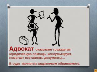 Адвокат оказывает гражданам юридическую помощь: консультирует, помогает соста