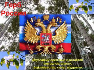 Герб России. Двуглавый орёл был и остаётся символом власти, верховенства, си