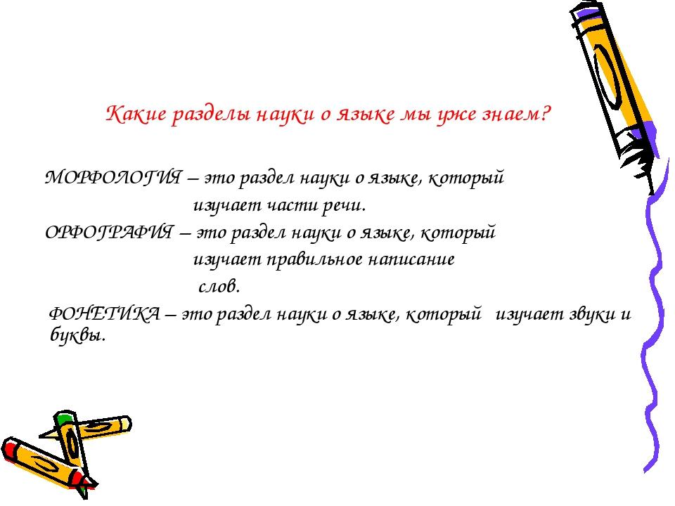 Какие разделы науки о языке мы уже знаем? МОРФОЛОГИЯ – это раздел науки о язы...