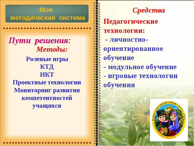 * Методы: Моя методическая система Пути решения: Ролевые игры КТД ИКТ Проектн...