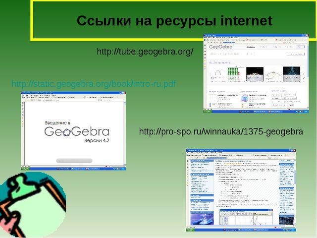 Сcылки на ресурсы internet http://tube.geogebra.org/ http://static.geogebra....