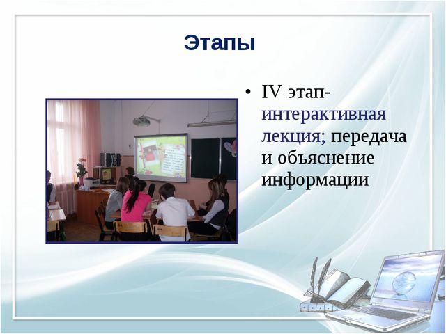 IV этап-интерактивная лекция; передача и объяснение информации Этапы