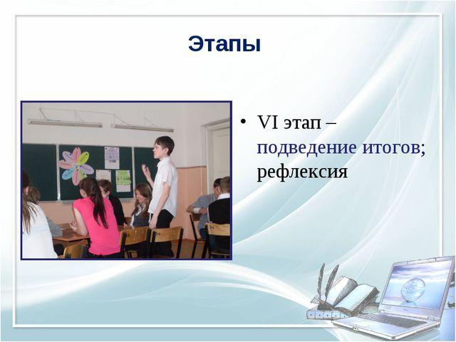 Этапы VI этап – подведение итогов; рефлексия