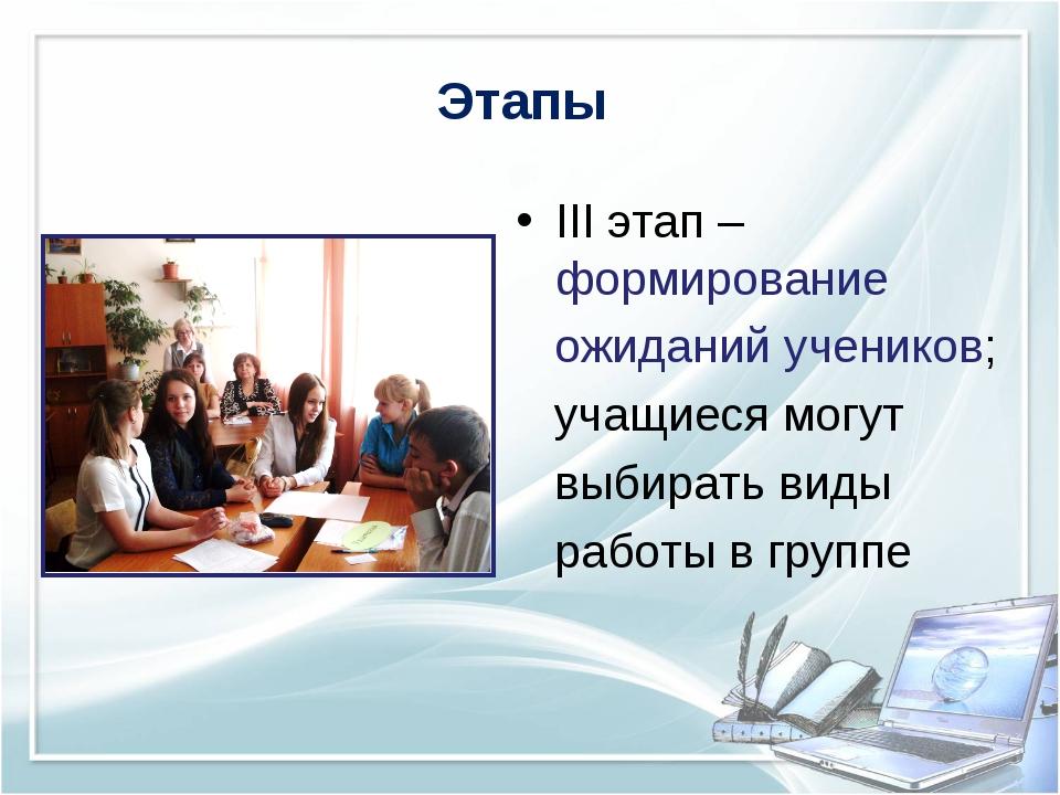 Этапы III этап – формирование ожиданий учеников; учащиеся могут выбирать виды...