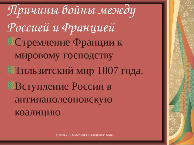 Исаева Л.Н. МБОУ Верхнекольцовская ООШ Причины войны между Россией и Францией...