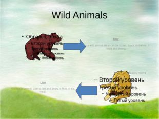 Wild Animals Bear It is a wild animal. Bear can be brown, black and white. It