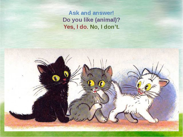 Ask and answer! Do you like (animal)? Yes, I do. No, I don't.