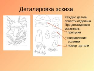 Деталировка эскиза Каждую деталь обвести отдельно. При деталировке указывать: