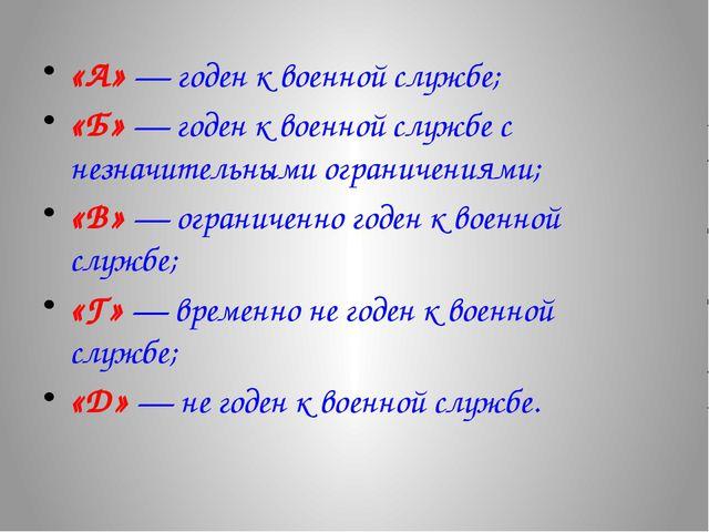 «А» — годен к военной службе; «Б» — годен к военной службе с незначительными...