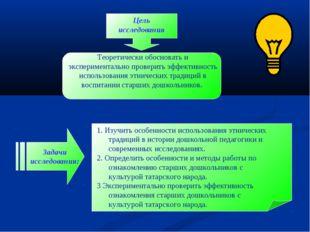 Цель исследования Задачи исследования: Теоретически обосновать и эксперимента