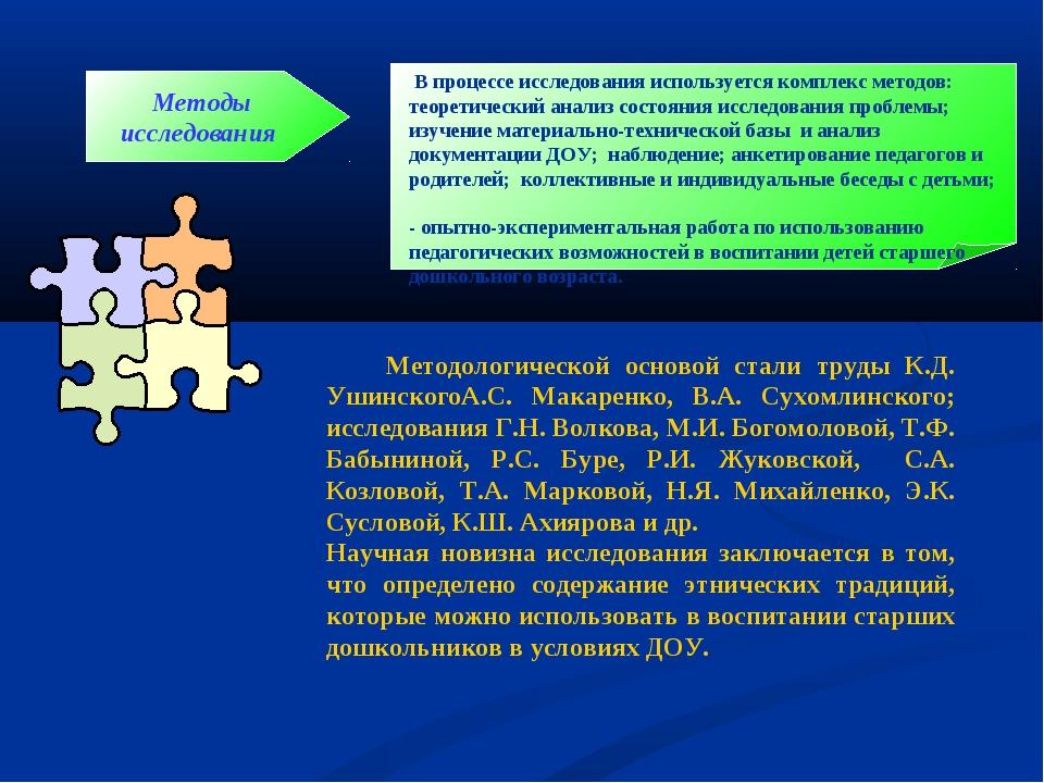 Методы исследования В процессе исследования используется комплекс методов: те...