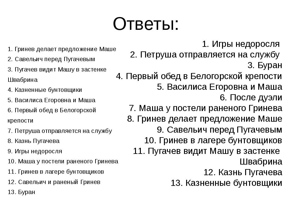 Ответы: 1. Гринев делает предложение Маше 2. Савельич перед Пугачевым 3. Пуга...