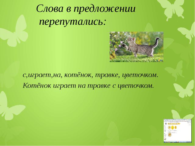Слова в предложении перепутались: с,играет,на, котёнок, травке, цветочком. К...
