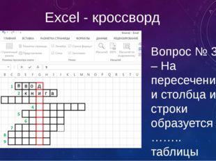 Excel - кроссворд Вопрос № 3 – На пересечении столбца и строки образуется …….