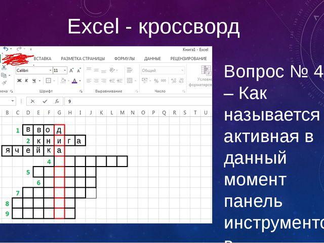 Excel - кроссворд Вопрос № 4 – Как называется активная в данный момент панель...
