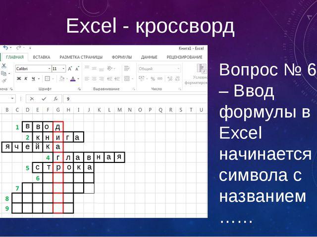 Excel - кроссворд Вопрос № 6 – Ввод формулы в Excel начинается с символа с на...