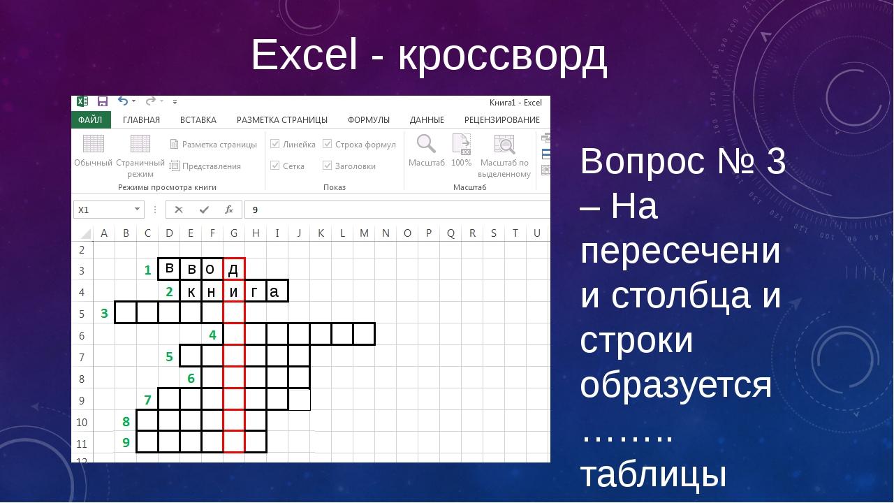 Excel - кроссворд Вопрос № 3 – На пересечении столбца и строки образуется ……....