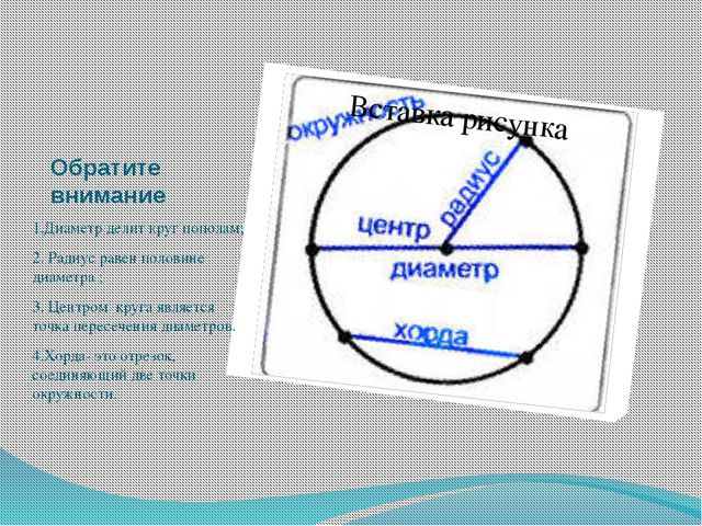 Обратите внимание 1.Диаметр делит круг пополам; 2. Радиус равен половине диам...