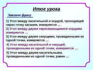 Итог урока Закончи фразу 1) Угол между касательной и хордой, проходящей через