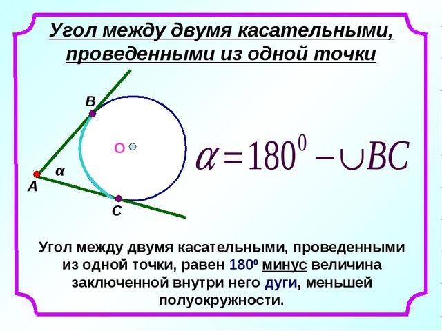 Угол между двумя касательными, проведенными из одной точки Угол между двумя к...