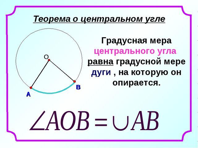 Теорема о центральном угле Градусная мера центрального угла равна градусной м...