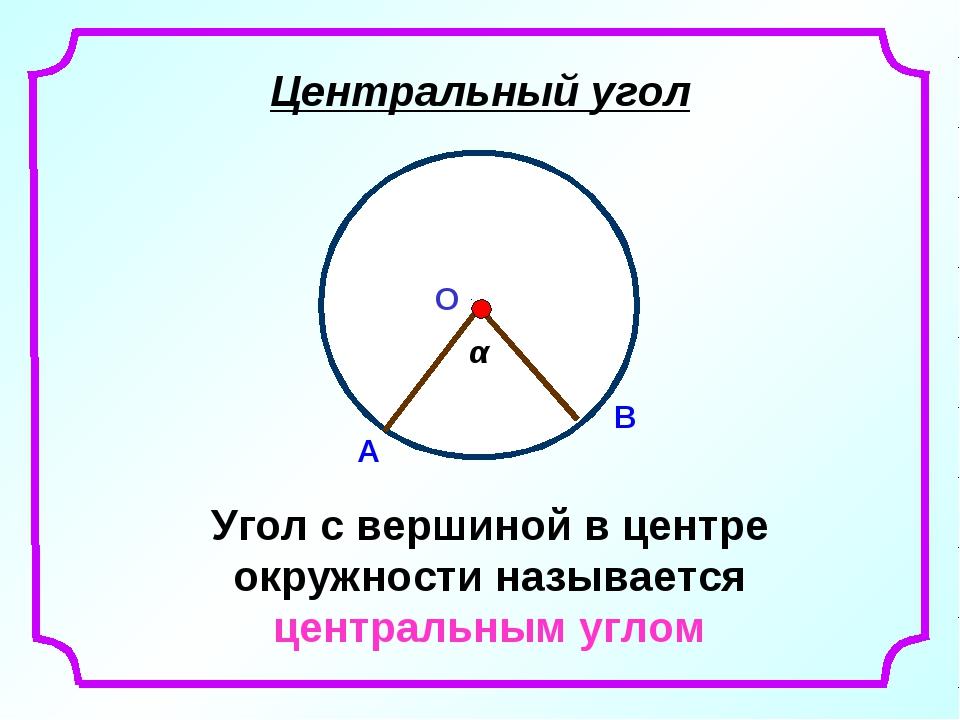 Центральный угол Угол с вершиной в центре окружности называется центральным у...