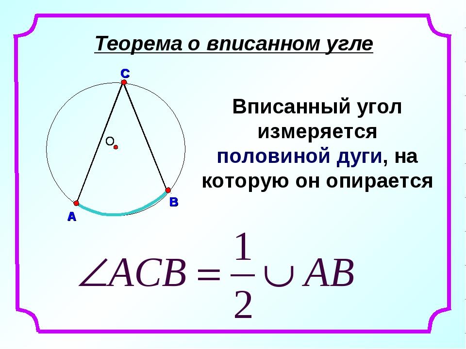 Теорема о вписанном угле Вписанный угол измеряется половиной дуги, на которую...