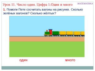 1. Помоги Пете сосчитать вагоны на рисунке. Сколько зелёных вагонов? Сколько