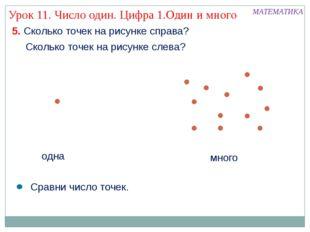 Сколько точек на рисунке слева? МАТЕМАТИКА Урок 11. Число один. Цифра 1.Один
