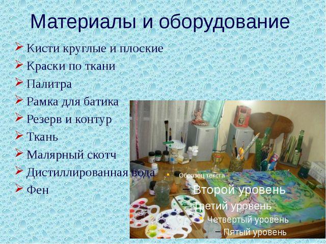 Материалы и оборудование Кисти круглые и плоские Краски по ткани Палитра Рамк...