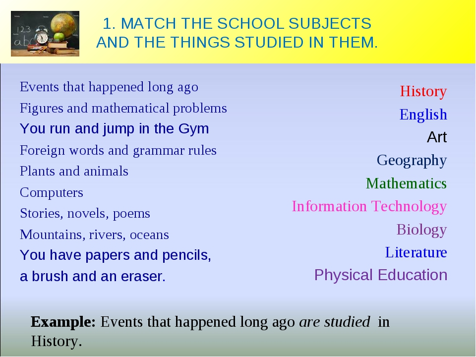 1. MATCH THE SCHOOL SUBJECTS AND THE THINGS STUDIED IN THEM. Events that happ...